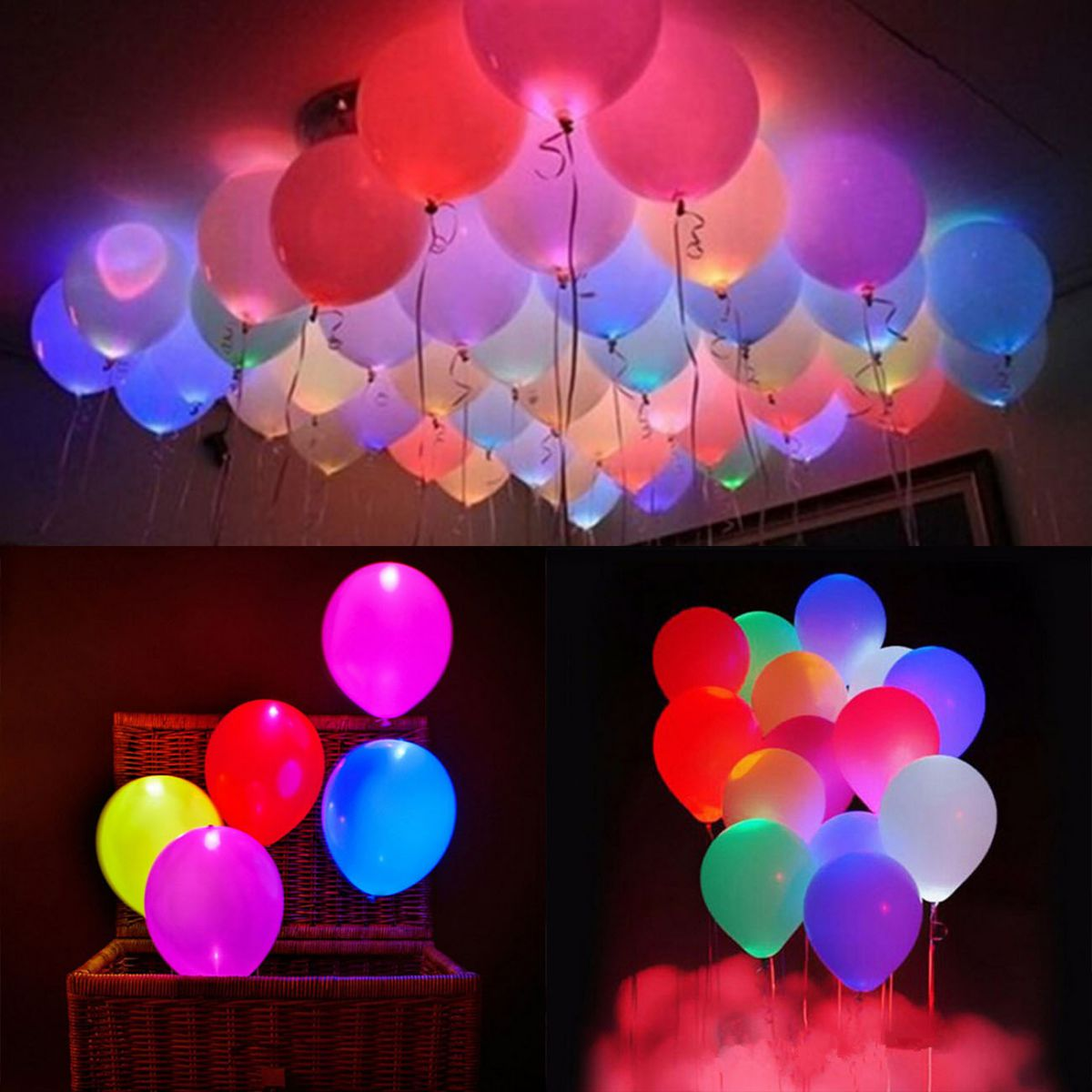 leuchtende led luftballons geburtstag hochzeit party deko club licht ballons ebay. Black Bedroom Furniture Sets. Home Design Ideas