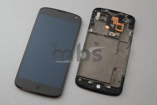 Original GOOGLE Nexus 4 LG E960 LCD Display Touch Screen Glas Komplettset Rahmen