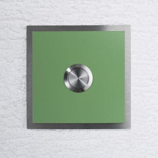 edelstahl t rklingel haust rklingel klingelplatte ral6021 bla gr n ebay. Black Bedroom Furniture Sets. Home Design Ideas