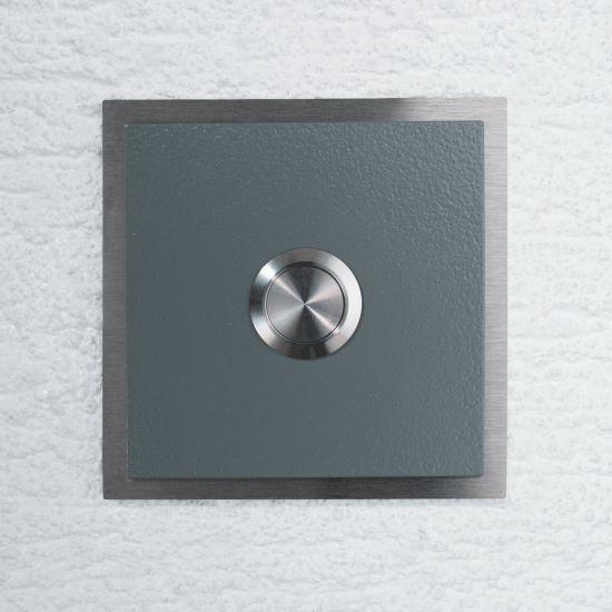 edelstahl t rklingel haust rklingel klingelplatte ral7012 basaltgrau ebay. Black Bedroom Furniture Sets. Home Design Ideas