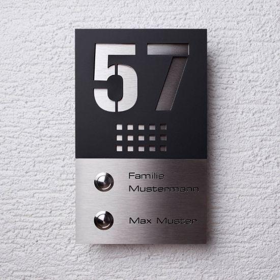 doppel funk t rklingel aus edelstahl 2 familien funklklingel klingelplatte ebay. Black Bedroom Furniture Sets. Home Design Ideas