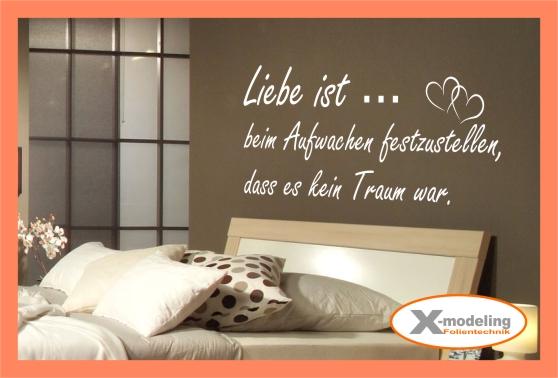 wandtattoo spr che liebe ist beim aufwachen 95cm x 39cm ebay. Black Bedroom Furniture Sets. Home Design Ideas