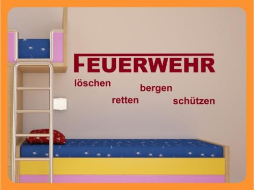 wandtattoo kinderzimmer feuerwehr l schen retten bergen. Black Bedroom Furniture Sets. Home Design Ideas