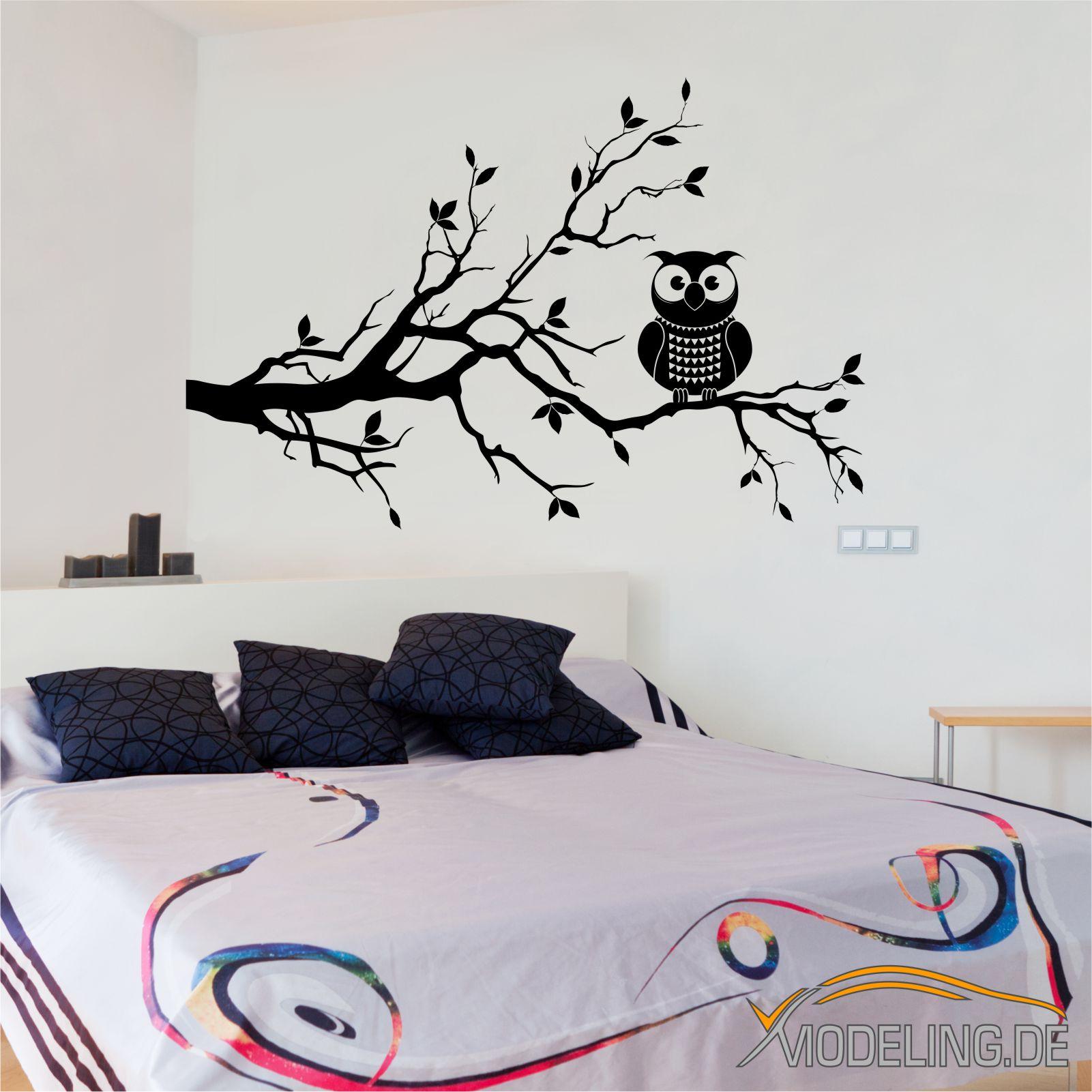 wandtattoo eule eulen owl vogel v gel baum ast zweig wandaufkleber w1365 ebay. Black Bedroom Furniture Sets. Home Design Ideas
