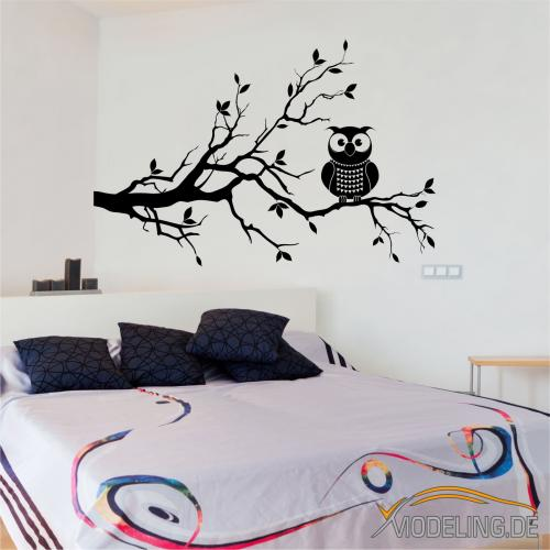 wandtattoo 1365 baum eule ast zweig wandaufkleber. Black Bedroom Furniture Sets. Home Design Ideas