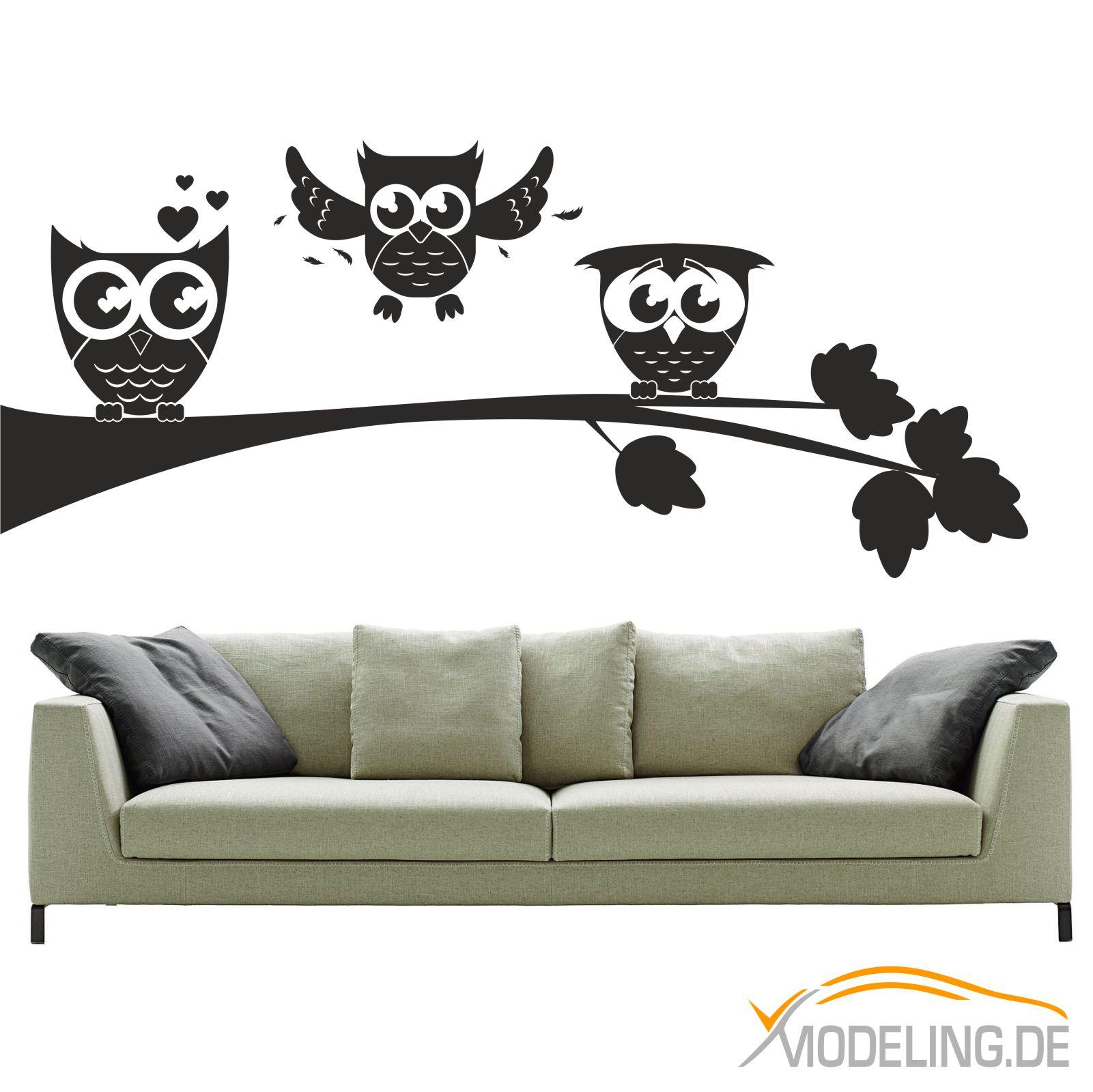 wandtattoo 1367 eulen auf zweig eule owl ast baum wandaufkleber wandmotiv ebay. Black Bedroom Furniture Sets. Home Design Ideas