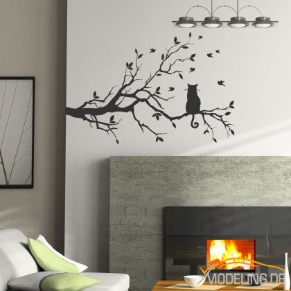 wandtattoo wandaufkleber spr che zitat baum katze ast v927 ebay. Black Bedroom Furniture Sets. Home Design Ideas