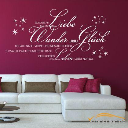 wandtattoo glaube an wunder 1355 wohnzimmer wandaufkleber. Black Bedroom Furniture Sets. Home Design Ideas