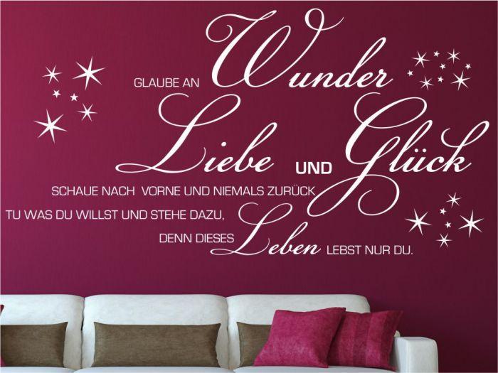 wandtattoo glaube an liebe wunder gl ck wohnzimer spr che. Black Bedroom Furniture Sets. Home Design Ideas