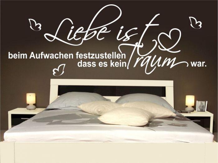 wandtattoo liebe aufwachen 120x43cm spr che schlafzimmer bett zitat m1331 ebay. Black Bedroom Furniture Sets. Home Design Ideas