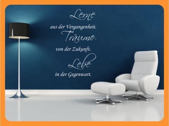 wandtattoo spr che zitat lerne aus der vergangenheit w1114 ebay. Black Bedroom Furniture Sets. Home Design Ideas