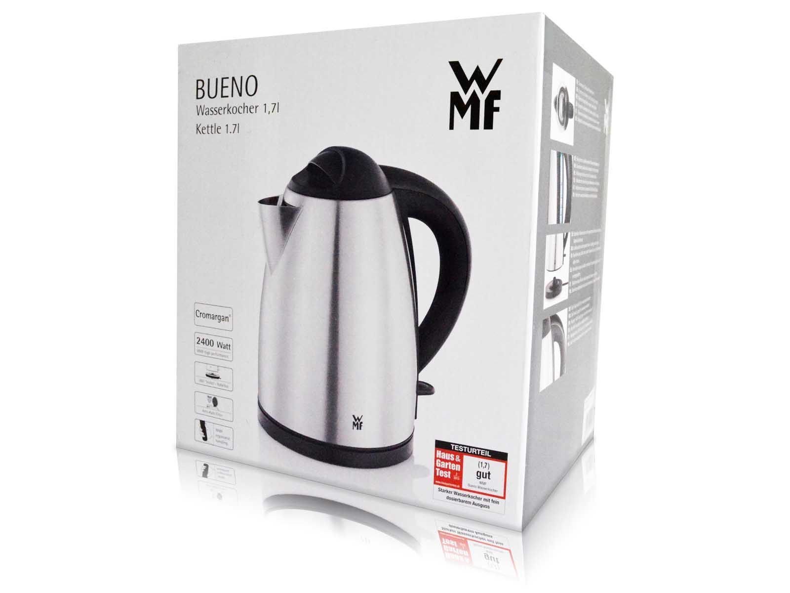 wmf bueno wasserkocher kettle edelstahl 2400 watt 1 7 l. Black Bedroom Furniture Sets. Home Design Ideas