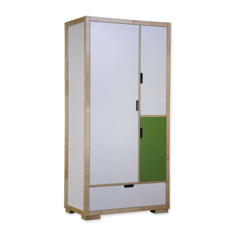 kinder kleiderschrank schrank mit schublade eco kids natur gr n wei eksz1 ebay. Black Bedroom Furniture Sets. Home Design Ideas