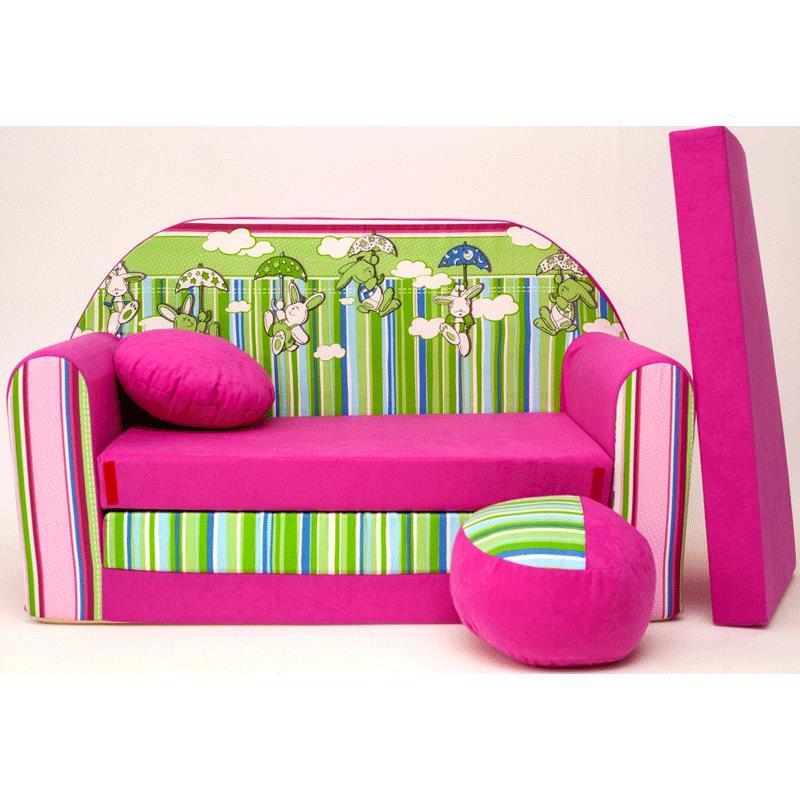 kindersofa pink h mit bettfunktion 3in1 sofa pikolino ausziehbett bett ebay. Black Bedroom Furniture Sets. Home Design Ideas
