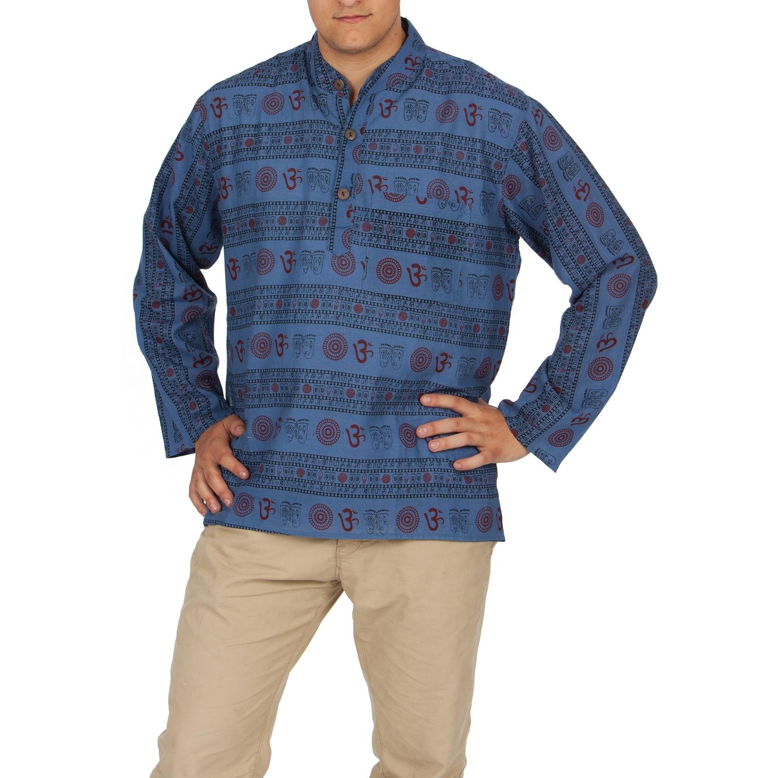 fischerhemd om ethnomuster baumwollhemd kurtha hemd leichte baumwolle m xl ebay. Black Bedroom Furniture Sets. Home Design Ideas