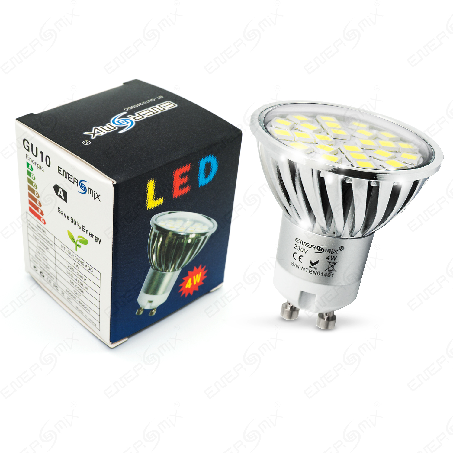 led lampe gu10 spot mit 5050 smd alu gehause mit schutzglas 4w ebay. Black Bedroom Furniture Sets. Home Design Ideas