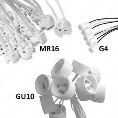 gu10 g4 mr16 fassung sockel stecker mit kabel aus hochvertigem keramik ebay. Black Bedroom Furniture Sets. Home Design Ideas
