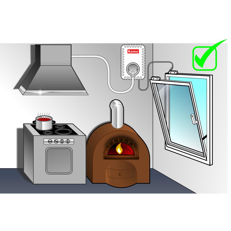 kemo abluftsteuerung fensterkontakt schalter luft steuerung dunstabzugshaube ebay. Black Bedroom Furniture Sets. Home Design Ideas
