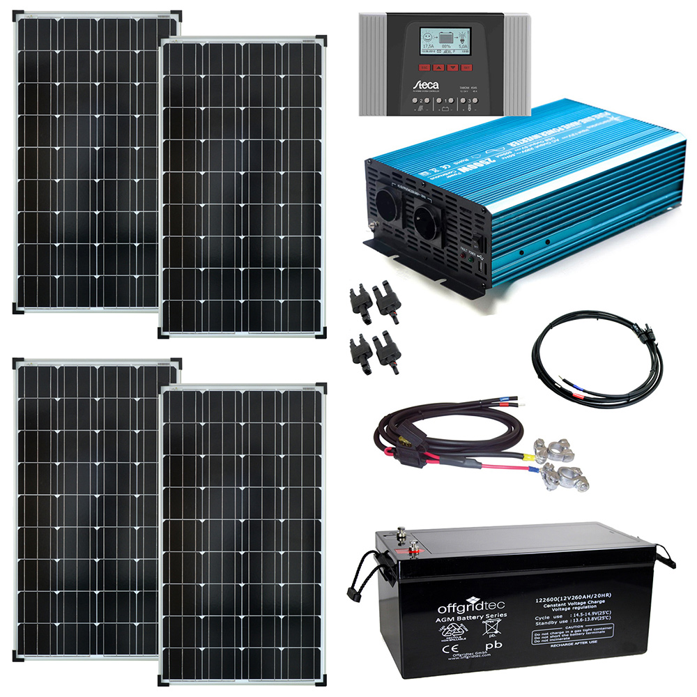 solaranlage autark xxl 520wp solar 2000wp ac leistung 12v 230v ebay. Black Bedroom Furniture Sets. Home Design Ideas