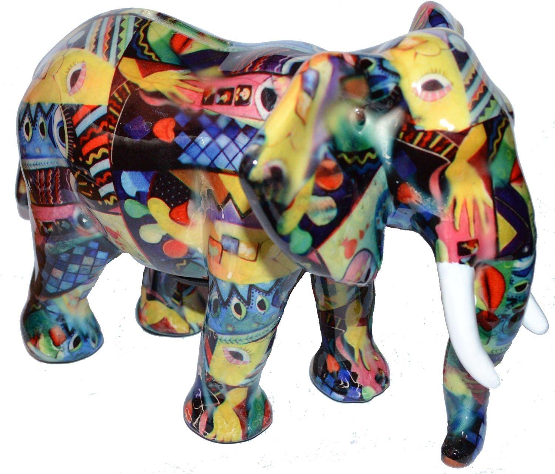 toller bunt bemalter elefant als spardose keramik 22x15x16 cm ebay. Black Bedroom Furniture Sets. Home Design Ideas