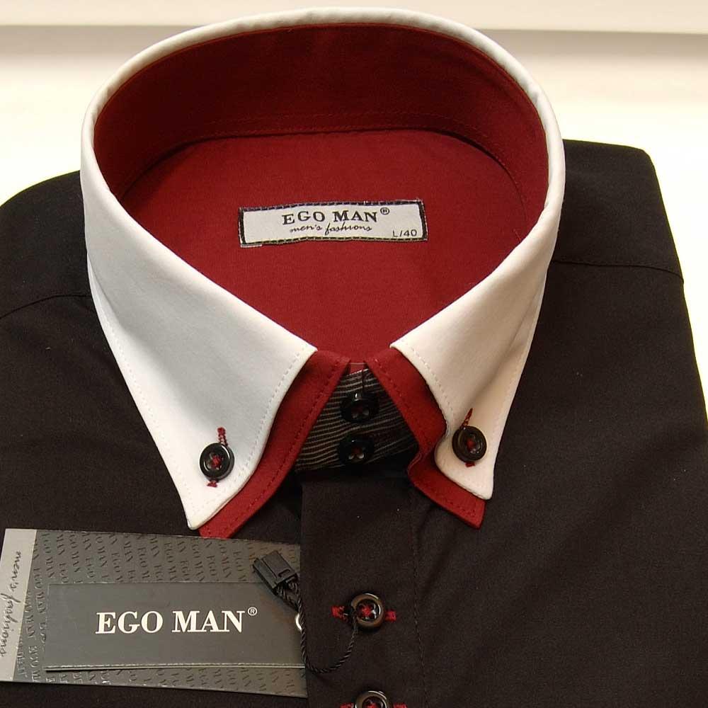 ego man hemd body fit langarm wei er kragen 2012 134 schwarz ebay. Black Bedroom Furniture Sets. Home Design Ideas