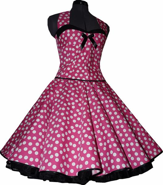 50er kleid zum petticoat pink wei e punkte schwarz rockabillymode vintage ebay. Black Bedroom Furniture Sets. Home Design Ideas
