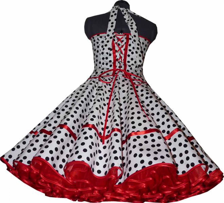 50er tanz petticoat kleid punkte weiss schwarz rot. Black Bedroom Furniture Sets. Home Design Ideas