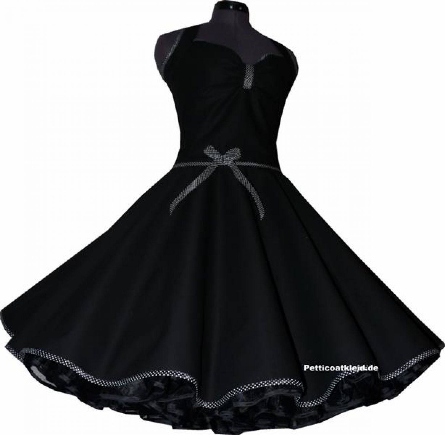 rockabilly kleid schwarz petticoat band schwarz wei e punkte jugendweihe ebay. Black Bedroom Furniture Sets. Home Design Ideas
