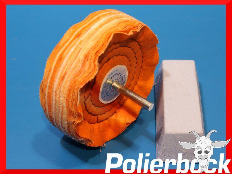 Polierset Hochglanzpolieren von Alu Stahl Messer 100mm