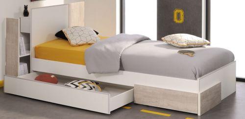 bett mit zwei schubkasten und anstellregal mit doppel usb anschluss weiss grau ebay. Black Bedroom Furniture Sets. Home Design Ideas
