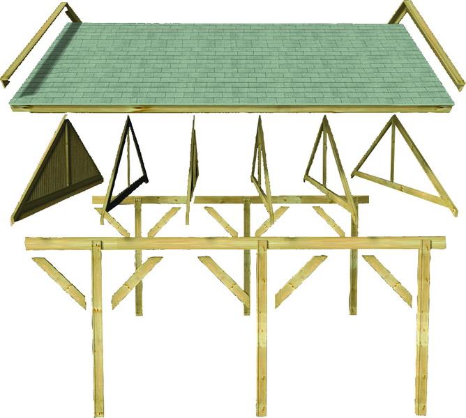 karibu satteldach einzelcarport classic 2 297x660cm kdi. Black Bedroom Furniture Sets. Home Design Ideas