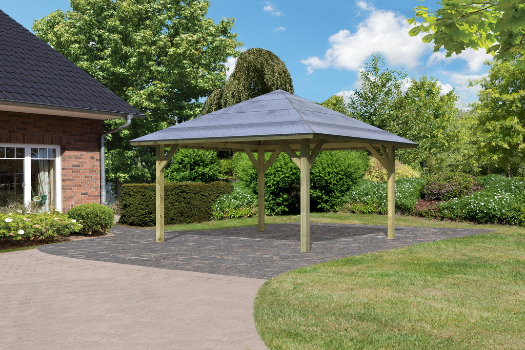 karibu pavillon carport kirn 1 431x431cm kdi 18mm osb dacheindeckung ebay. Black Bedroom Furniture Sets. Home Design Ideas