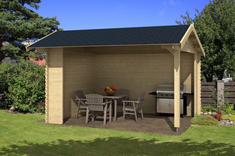 Lasita maja gartenhaus lounge kirian 380x300 cm sockelmass 28 mm bohlen ebay - Offenes gartenhaus ...