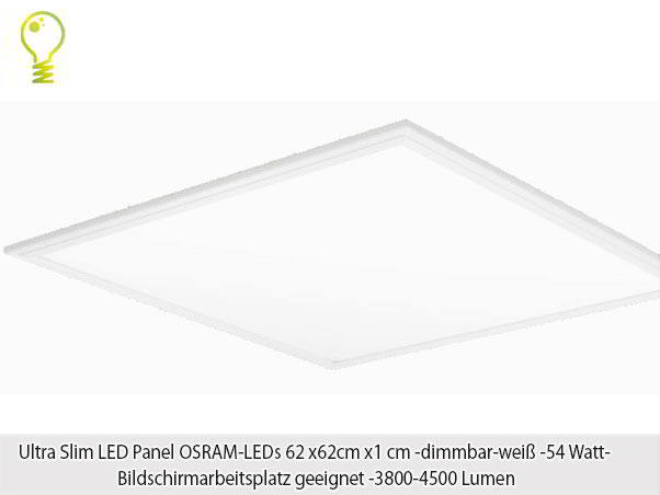 4500 lm led panel m osram leds 62x62x 54w dimmbar neutralwei 83 lm w bap ebay. Black Bedroom Furniture Sets. Home Design Ideas