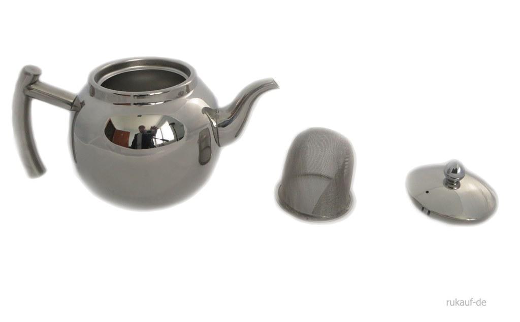 design edelstahl teekanne oder kaffeekanne mit sieb und. Black Bedroom Furniture Sets. Home Design Ideas