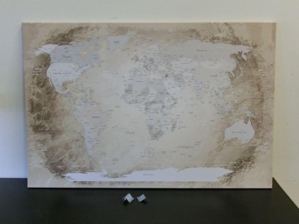 Lanakk Weltkarte Leinwandbild Worldmap Fehler Beige Kunstdruck