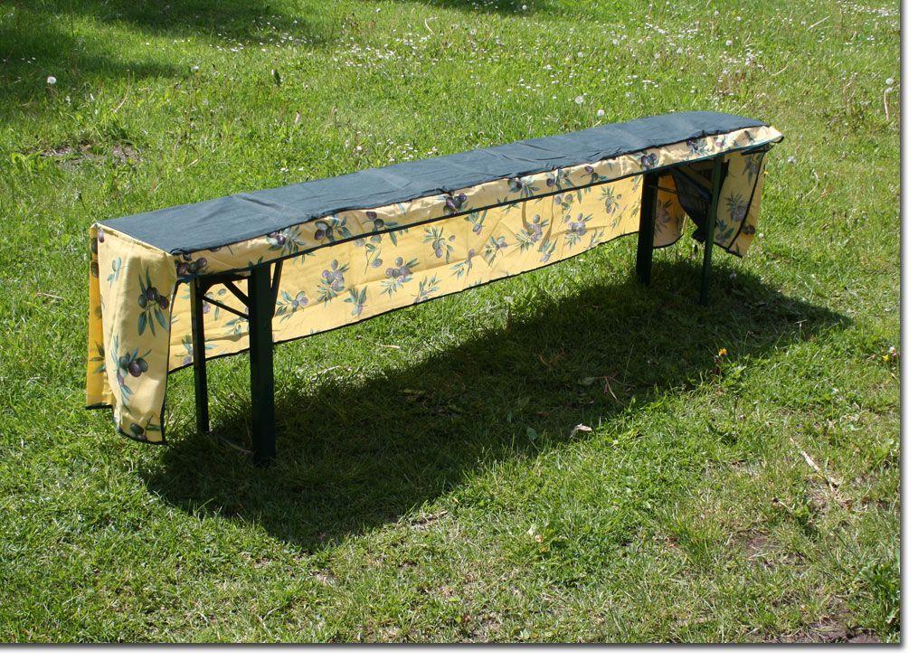 biertisch husse set f r 1 tisch und 2 b nke beo olive tischhusse 50cm ebay. Black Bedroom Furniture Sets. Home Design Ideas