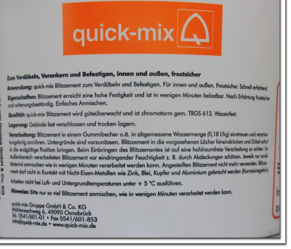 blitzzement quick mix mischungsverh ltnis zement. Black Bedroom Furniture Sets. Home Design Ideas
