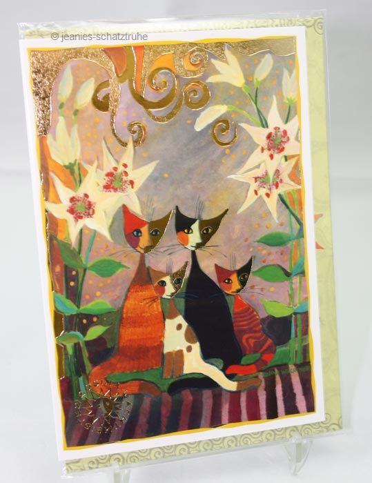 klappkarte kunstkarte doppelkarte cat rosina wachtmeister katzen mit lilien ebay. Black Bedroom Furniture Sets. Home Design Ideas