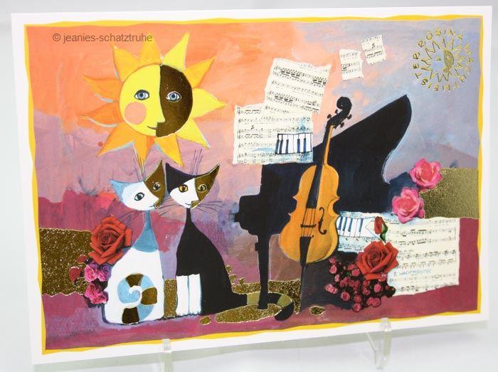 postkarte kunstkarte kunstdruck cello rosina wachtmeister katze cat ebay. Black Bedroom Furniture Sets. Home Design Ideas