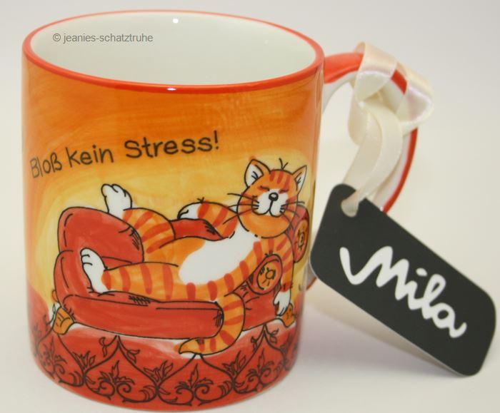 kaffee becher tasse katze cat oommh bloss kein stress ebay. Black Bedroom Furniture Sets. Home Design Ideas