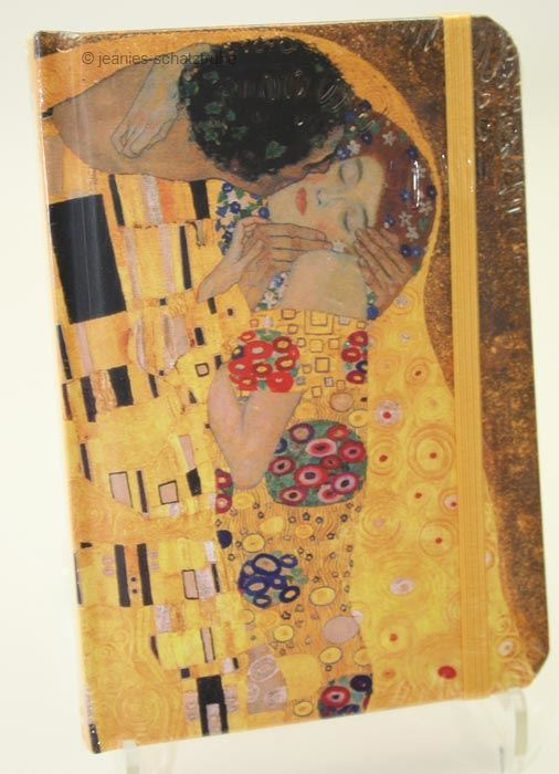 notizbuch notebook klimt der kuss mit gummizug ebay. Black Bedroom Furniture Sets. Home Design Ideas