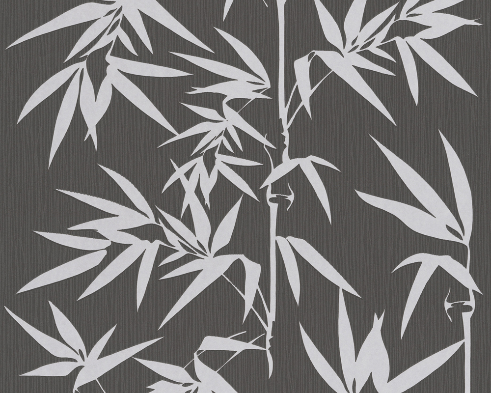 Jette Joop Tapete Bambus : Black and Silver Bamboo Pattern