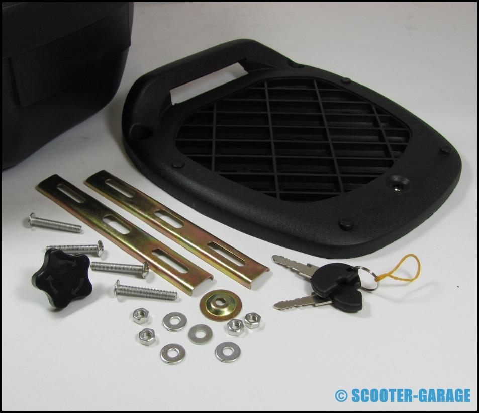 Topcase top case schwarz weiss 28 liter peugeot for Garage scooter peugeot