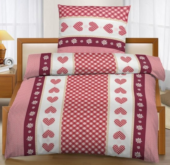 ido micro fleece bettw sche mit herzen 135x200 80x80 cm rot wei ebay. Black Bedroom Furniture Sets. Home Design Ideas