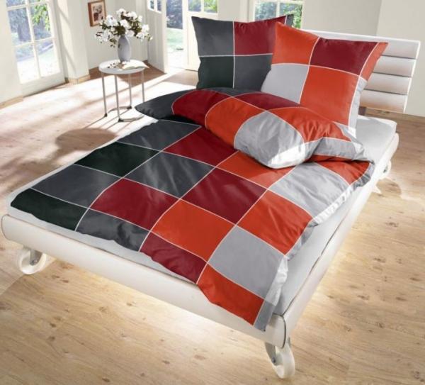 ido fein biber bettw sche silber grau rot 135x200 80x80 cm. Black Bedroom Furniture Sets. Home Design Ideas