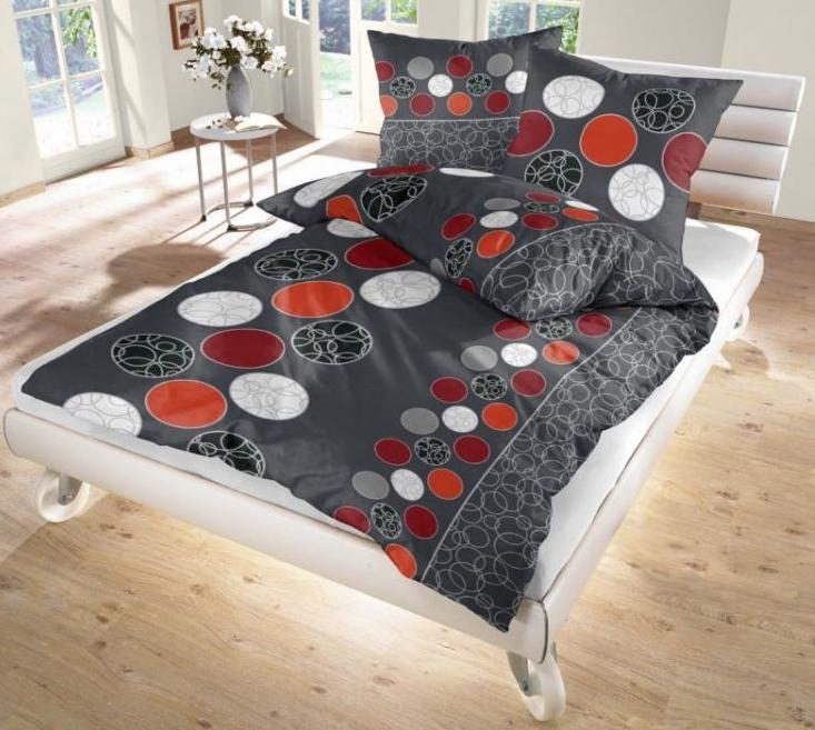 ido fein biber bettw sche anthrazit rot 135x200 80x80 cm ebay. Black Bedroom Furniture Sets. Home Design Ideas