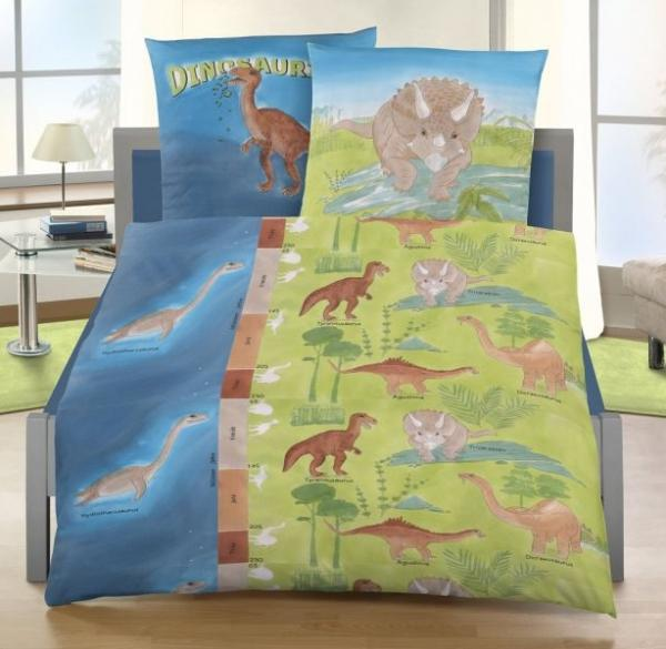 ido edel linon kinder bettw sche blau gr n mit dinosaurier 135x200 80x80 cm ebay. Black Bedroom Furniture Sets. Home Design Ideas