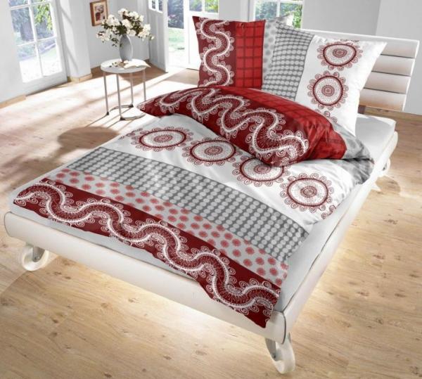 ido renforc bettw sche rot grau wei 135x200 80x80 cm. Black Bedroom Furniture Sets. Home Design Ideas
