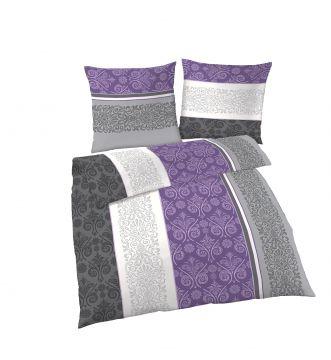 ido fein biber bettw sche ornamente7streifen lila grau. Black Bedroom Furniture Sets. Home Design Ideas
